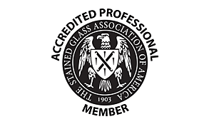 Stained Glass Association Member Logo | Solstice Stained Glass Chicago IL
